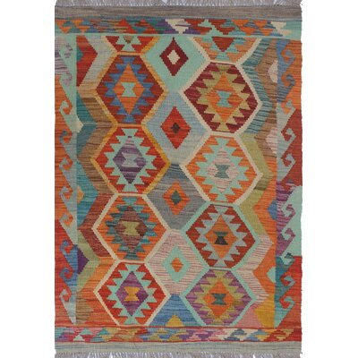Rucker Kilim Hand Woven Wool Gray/Brown Area Rug