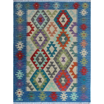 Vallejo Traditional Kilim Hand Woven Wool Blue Area Rug