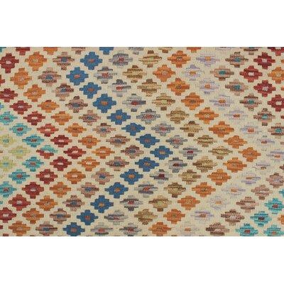Vallejo Kilim Hand Woven Wool Beige Southwestern Fringe Area Rug