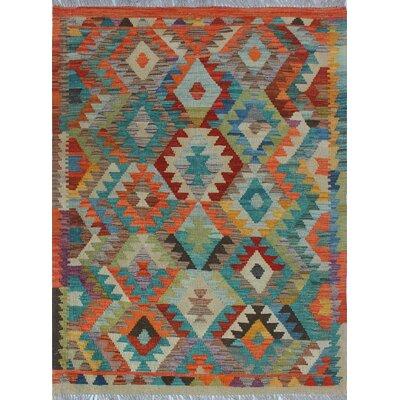 Vallejo Kilim Hand Woven Wool Orange/Beige Area Rug