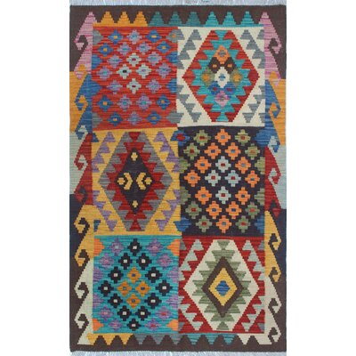 Vallejo Kilim Hand Woven Wool Gray Area Rug