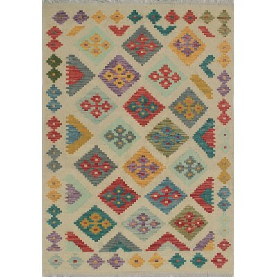 Rucker Traditional Kilim Hand Woven Wool Beige/Red Area Rug