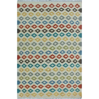 Vallejo Traditional Kilim Hand Woven 100% Wool Beige Fringe Area Rug