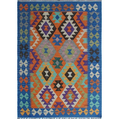 Rucker Kilim Hand Woven Wool Blue/Orange Fringe Area Rug