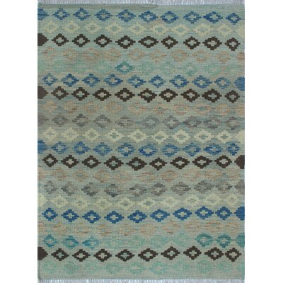 Vallejo Kilim Hand Woven Wool Blue/Gray Geometric Area Rug