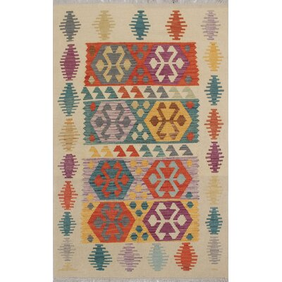 Vallejo Traditional Kilim Hand Woven Wool Beige Area Rug