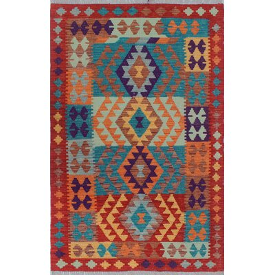 Vallejo Traditional Kilim Hand Woven Wool Rust Area Rug