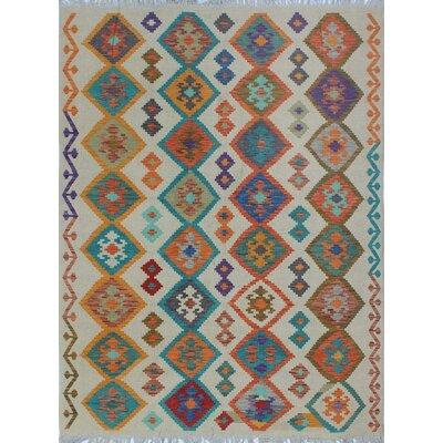 Vallejo Traditional Kilim Hand Woven Wool Beige Southwestern Area Rug