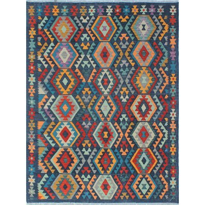 Vallejo Traditional Kilim Hand Woven Wool Blue Southwestern Area Rug