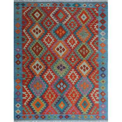 Rucker Kilim Hand Woven Wool Blue/Red Area Rug