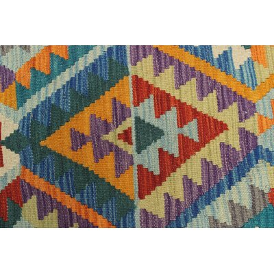 Vallejo Traditional Kilim Hand Woven Wool Green Area Rug