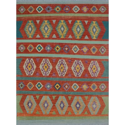 Rucker Kilim Hand Woven Wool Green Fringe Area Rug