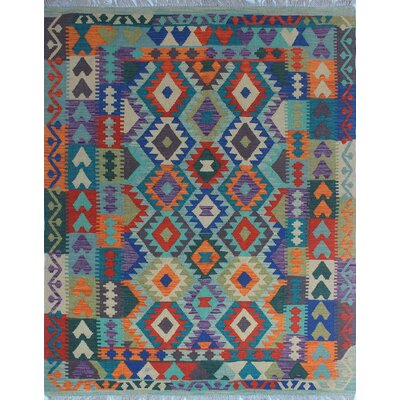 Vallejo Kilim Hand Woven 100% Wool Blue Area Rug