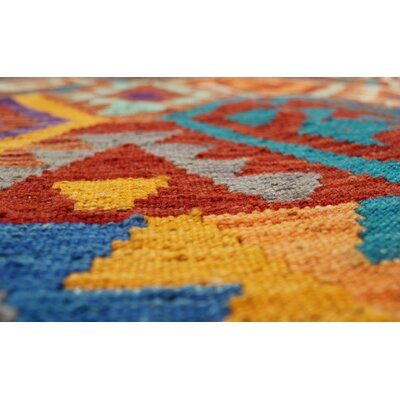 Rucker Kilim Hand Woven Wool Rust Area Rug
