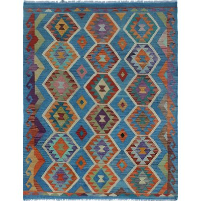 Rucker Kilim Hand Woven Wool Rectangle Blue Southwestern Area Rug