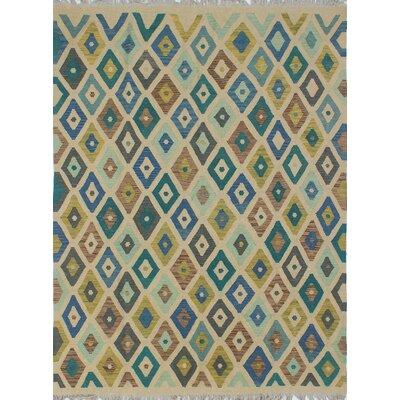 Rucker Kilim Hand Woven Wool Beige Southwestern Area Rug