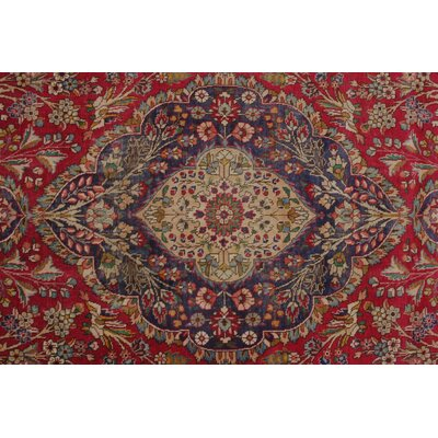 Calderwood Vintage Distressed Hand Knotted Wool Red Area Rug