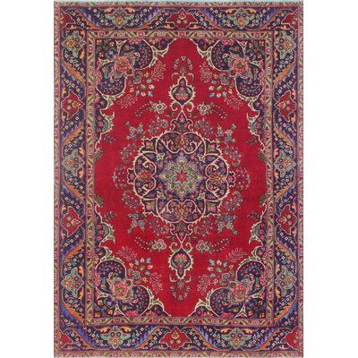 Callimont Vintage Distressed Hand Knotted Wool Red Area Rug