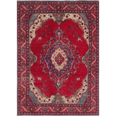Callowhill Vintage Distressed Hand Knotted Wool Red Area Rug