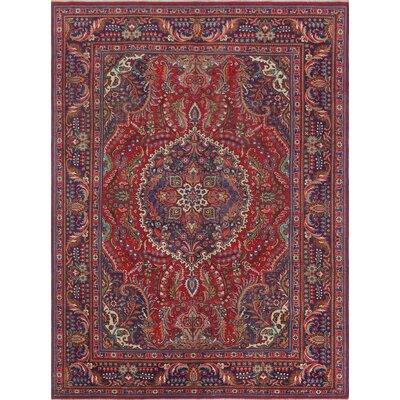 Calmar Vintage Distressed Hand Knotted Wool Red Area Rug
