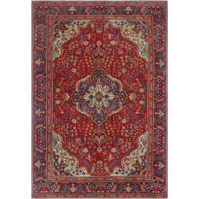 Camerton Vintage Distressed Hand Knotted Wool Red Area Rug