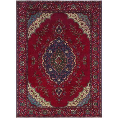 Campden Vintage Distressed Hand Knotted Wool Red Area Rug
