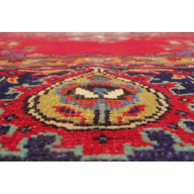Camperdown Vintage Distressed Hand Knotted Wool Red Area Rug