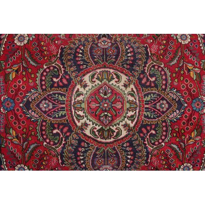 Brockett Vintage Distressed Hand Knotted Wool Red Area Rug