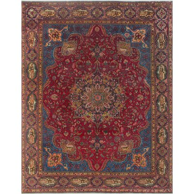 Brodersen Vintage Distressed Hand Knotted Wool Red Area Rug