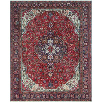 Brodick Vintage Distressed Hand Knotted Wool Red Area Rug