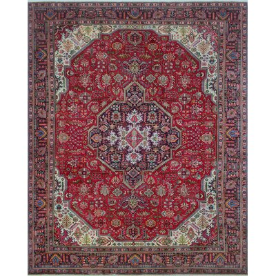 Brokaw Vintage Distressed Hand Knotted Wool Red Area Rug