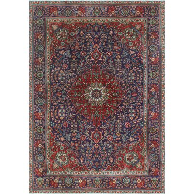 Brookover Vintage Distressed Hand Knotted Wool Blue Area Rug
