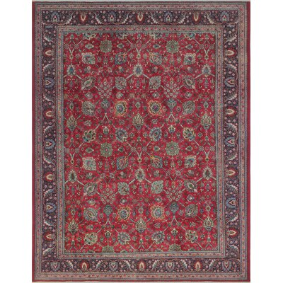 Creaser Vintage Distressed Hand Knotted Wool Red Area Rug