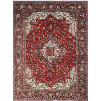Malachy Vintage Distressed Hand Knotted Wool Red Area Rug
