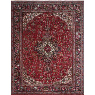 Brookshire Vintage Distressed Hand Knotted Wool Red Area Rug