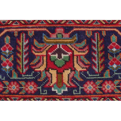 Brookstonval Vintage Distressed Hand Knotted Wool Red Area Rug