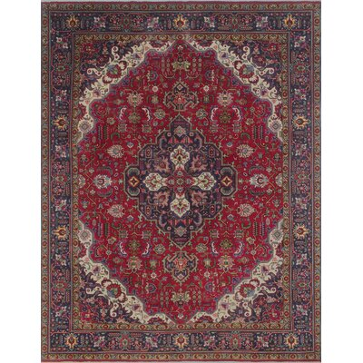 Brookswood Vintage Distressed Hand Knotted Wool Red Area Rug