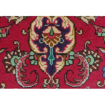 Brookview Vintage Distressed Hand Knotted Wool Red Area Rug