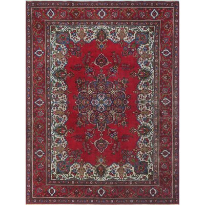 Brophy Vintage Distressed Hand Knotted Wool Red Area Rug