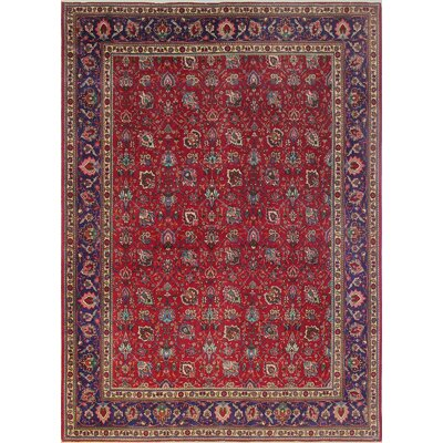 Brosnan Vintage Distressed Hand Knotted Wool Red Area Rug
