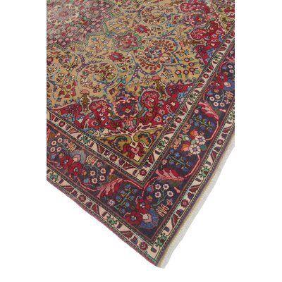Brotherton Vintage Distressed Hand Knotted Wool Red Area Rug
