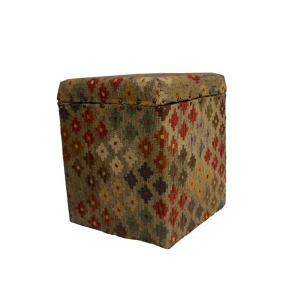 Ferrara Storage Ottoman Upholstery: Beige/Blue