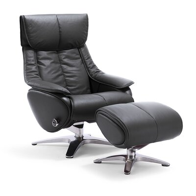 Taisha Leather Swivel Recliner with Ottoman Upholstery: Black