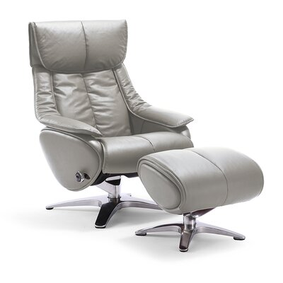 Taisha Leather Ergonomic Recliner Upholstery: Gray