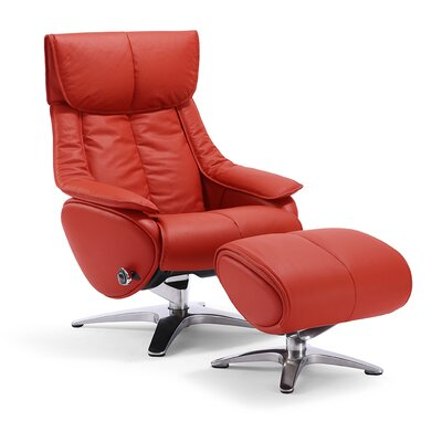 Taisha Leather Swivel Recliner with Ottoman Upholstery: Red
