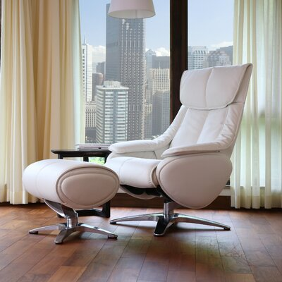 Taisha Leather Swivel Recliner with Ottoman Upholstery: White