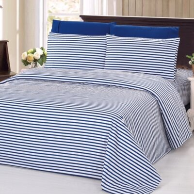4 Piece Rayon Sheet Set Size: King, Color: Blue