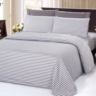 4 Piece Rayon Sheet Set Size: Queen, Color: Silver