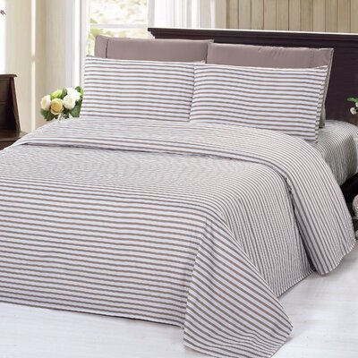 4 Piece Rayon Sheet Set Size: King, Color: Taupe