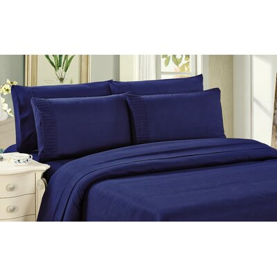 Byrnes Comfort and Soft Flat Sheet Size: Queen, Color: Navy Blue